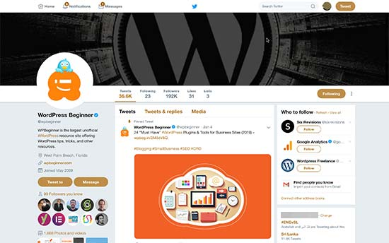 Twitter profile page showing cover photo, profile image, and share image