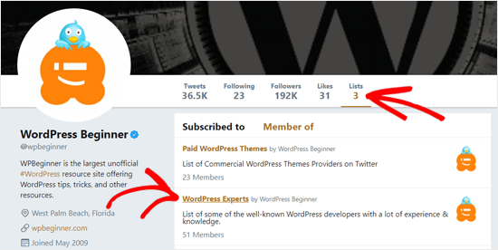 WPBeginner Twitter Lists