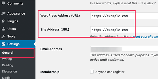 WordPress URL settings