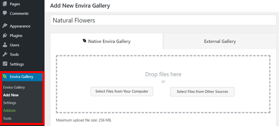 Creating a New Gallery with Envira Gallery WordPress Plugin