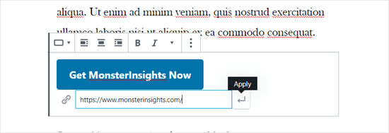 Enter Button Text and Link in WordPress