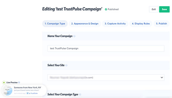 Creating a popup campaign in TrustPulse