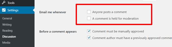 Отключить уведомления о комментариях в WordPress