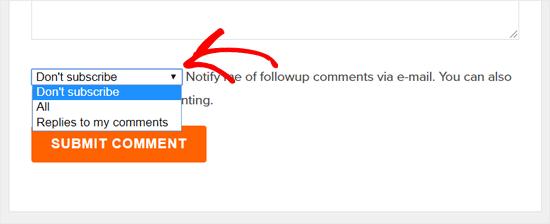 Подписаться на комментарии в блоге WPBeginner