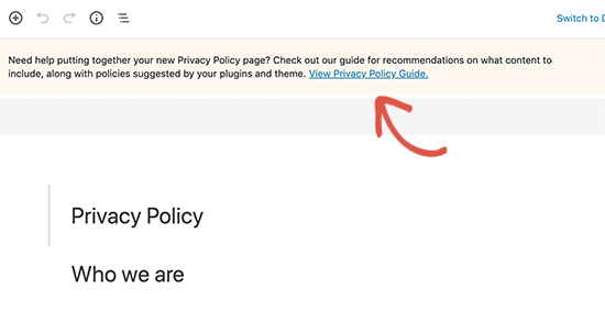 View WordPress privacy policy guide for tips