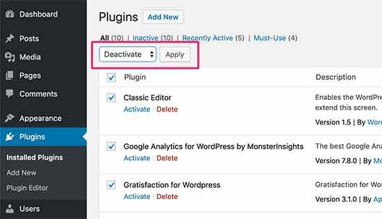 Nonaktifkan semua plugin WordPress
