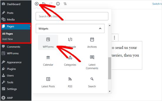 Add WPForms block to the editor