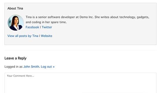 Custom author info box