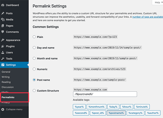 Select permalink structure