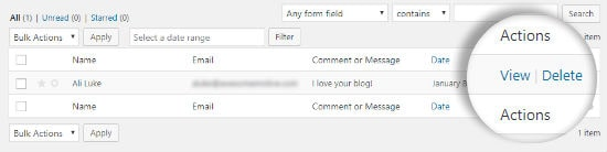 The View link, indicated by a red arrow, that you click to view the contact form entry details