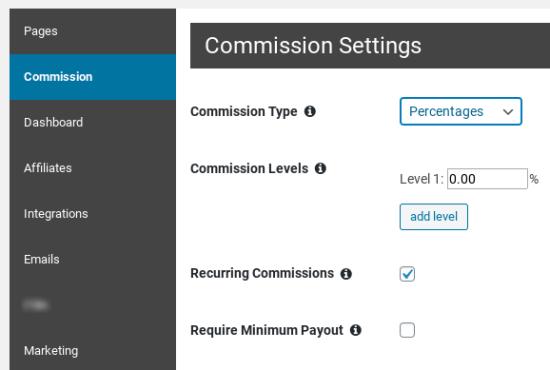 Menetapkan komisi untuk afiliasi Affiliate Royale Anda