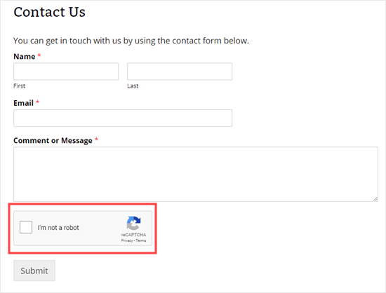 Formulir kontak dengan kotak reCAPTCHA
