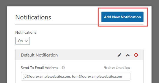 Click the 'Add New Notification' button to create a new notification