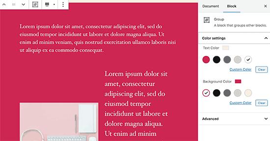 Menggunakan warna latar belakang untuk semua blok dalam grup