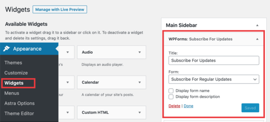 Add WPForm widget to sidebar