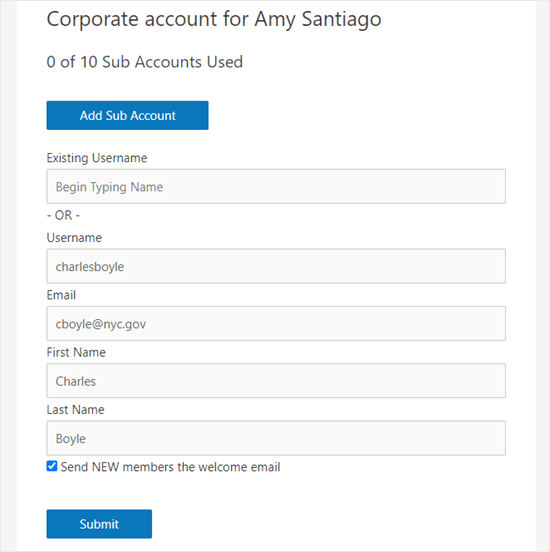 Adding sub-accounts to the corporate account