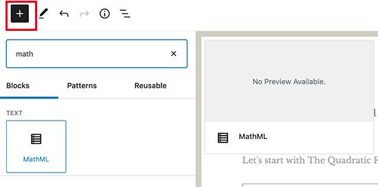 Menambahkan blok MathML
