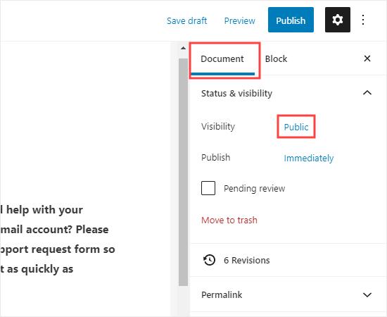 Mengedit pengaturan visibilitas halaman