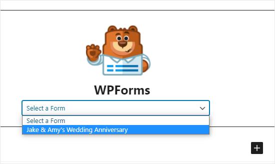 WPForms açılır listesinden RSVP formunu seçme