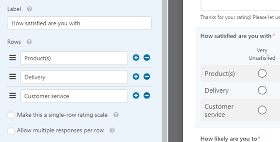 Editing the options on the Likert satisfaction scale