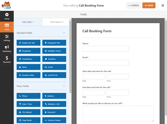Creating a call booking form in WPForms