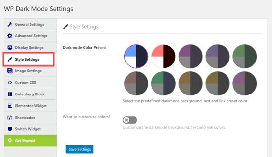 Memilih skema warna mode gelap Anda di Pengaturan Gaya