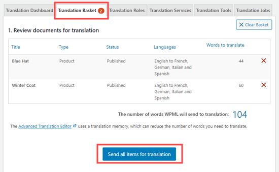 Mengirim produk Anda untuk diterjemahkan