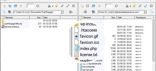 Uploading the service worker file via FTP