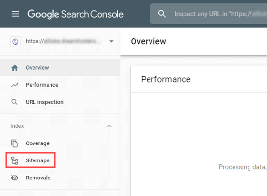 The Sitemaps tab in Google Search Console