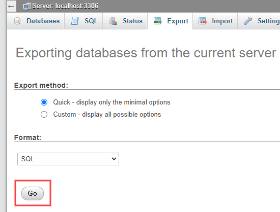 Running a quick database export from phpMyAdmin