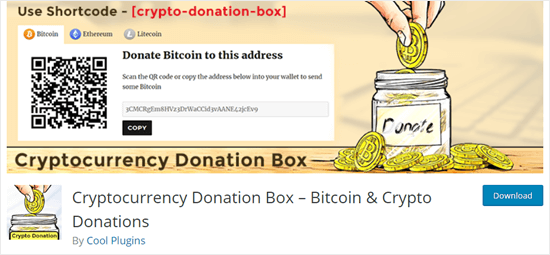 The Cryptocurrency Donation Box tip jar plugin on the WordPress website