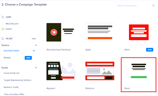 Selecting the Basic template for your on click popup