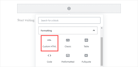 Adding a custom HTML block in WordPress