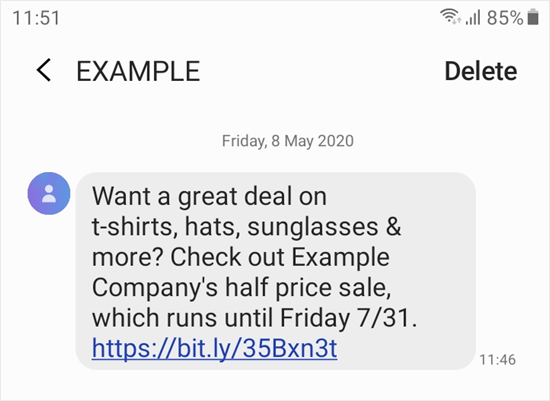 The text message campaign shown on a mobile phone