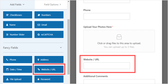 Adding a website / URL field to the form