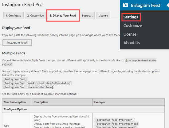 Instagram Feed Pro's display settings