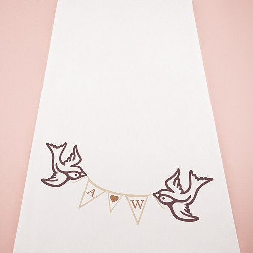 Birds With Love Pennant Personalised Aisle Runner