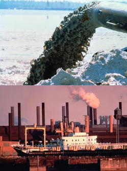 Two photos showing point source and nonpoint source pollution. Top: point source pollution pouring from a dredge pipe into a waterway. Bottom: Nonpoint source pollution Pollution from ships and factories polluting a waterway
