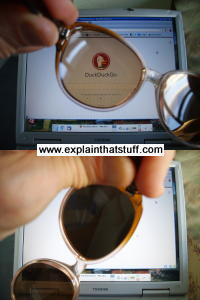 Looking through polarizing sunglasses, or a polarizing filter, an LCD display looks bright or dark depending on the viewing angle.