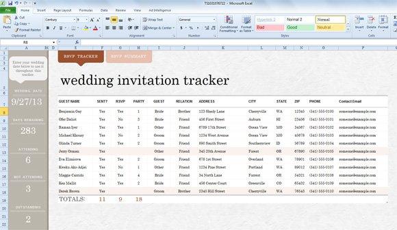 Wedding Invitation List Sample – Sample Wedding Guest List