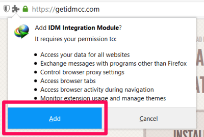 IDM CC Extension for Mozilla Firefox - download internet download