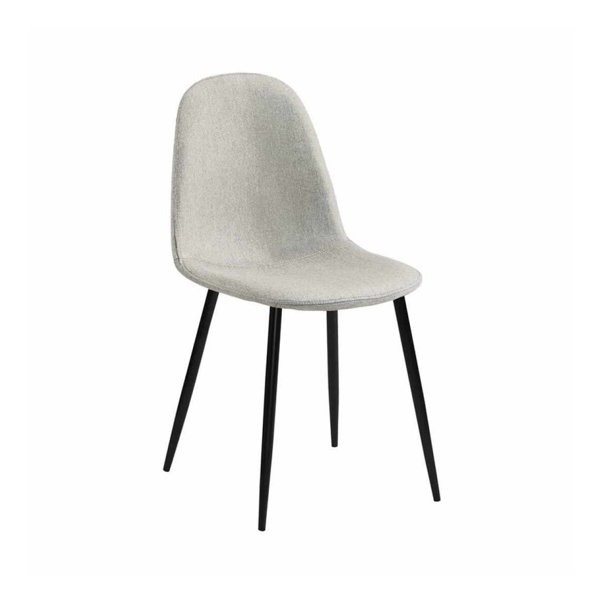 chaise scandinave en tissu gris beige pieds noirs
