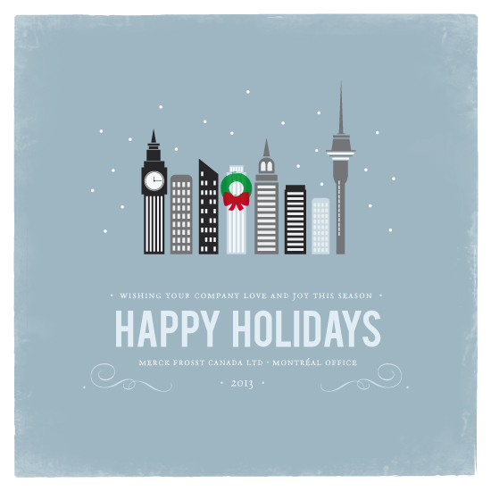 Business Holiday Cards Winter Cityscape At