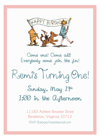 Party Invitations Winnie The Pooh Birthday Party At