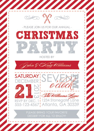 Party Invitations Candy Cane Christmas At