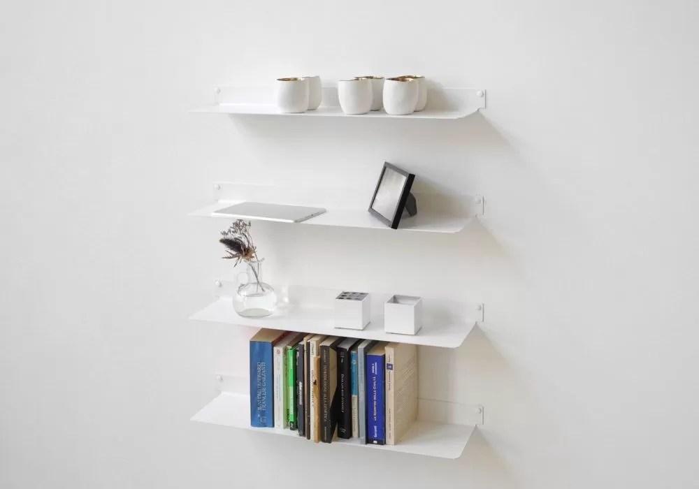etagere murale design blanc invisible et en metal 60 cm lot de 4 acier