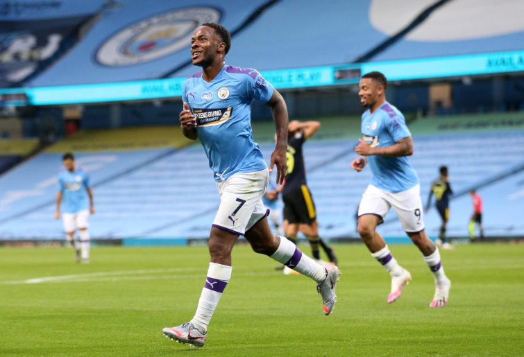 Raheem Sterling of Manchester City celebrates