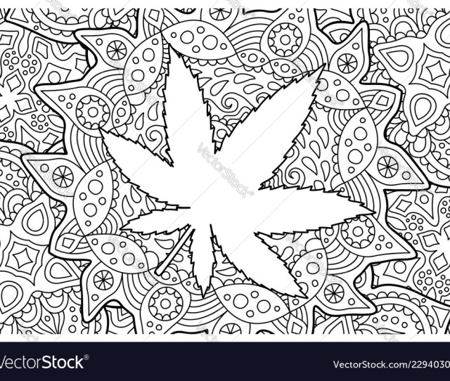 Adult Coloring Book Page With Cannabis Leaf Vector Image