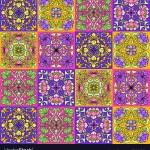 Art Nouveau Ceramic Tile Pattern Floral Motifs In Vector Image