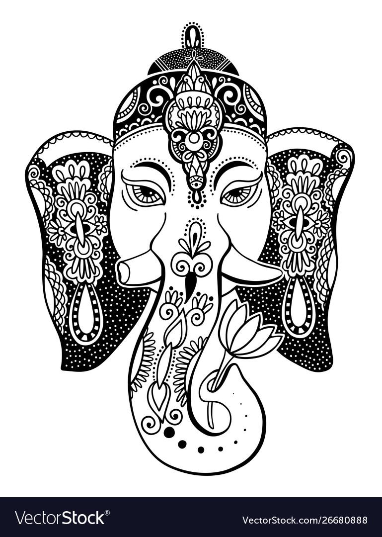 Lord Ganesha Head With Lotus Drawing Indian Vector Image